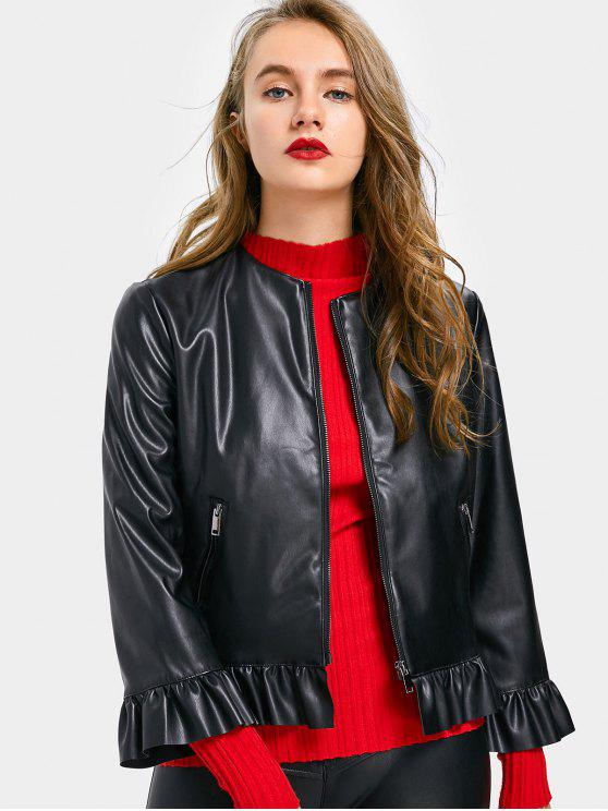 Ruffles Zip Up Faux Leather Jacket - Preto S