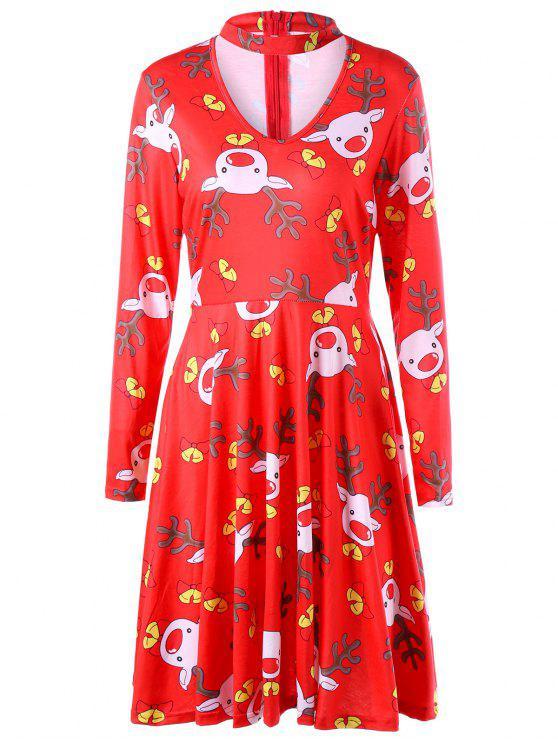Ugly Christmas Elk Cut Out Dress COLORMIX: Print Dresses L   ZAFUL