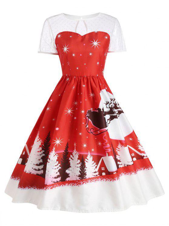 Vestido vintage de Santa Claus Deer Christmas - Rojo L