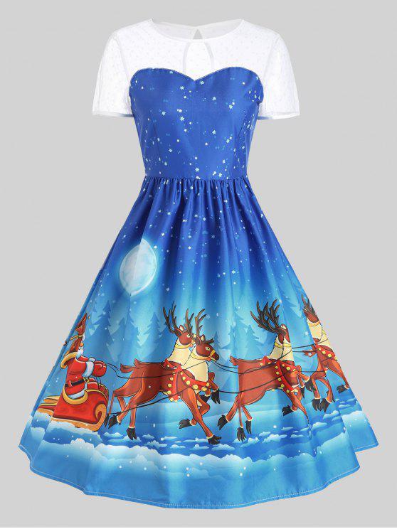 Mesh-Panel Weihnachten Weihnachtsmann Schlitten Party Kleid Blau ...