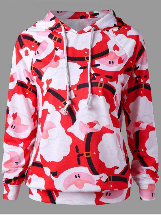 shop Raglan Sleeve Santa Claus Print Christmas Hoodie - RED XL