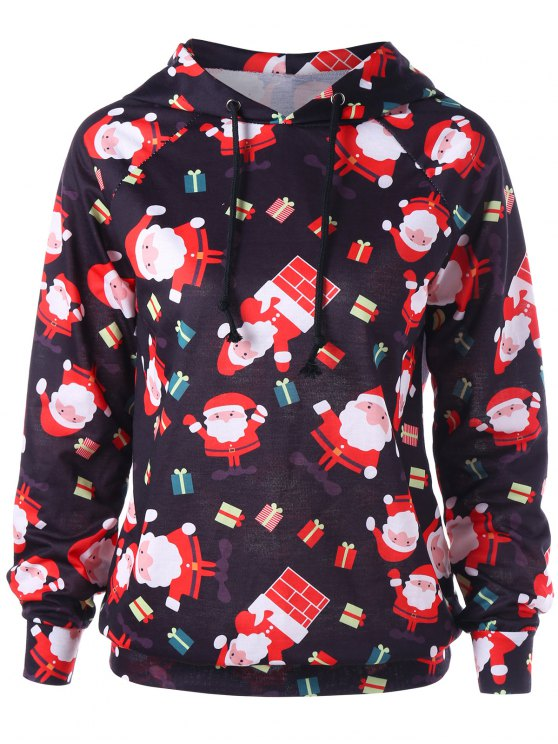 trendy Raglan Sleeve Santa Claus Christmas Hoodie - RED L