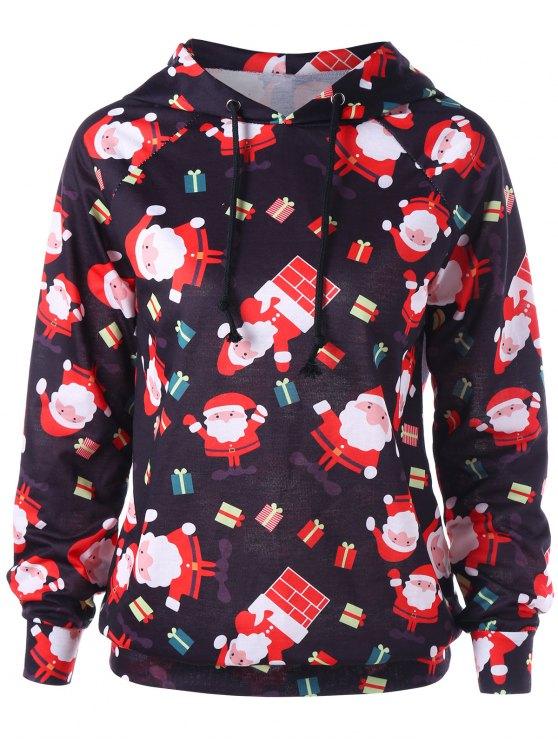 fashion Raglan Sleeve Santa Claus Christmas Hoodie - RED XL