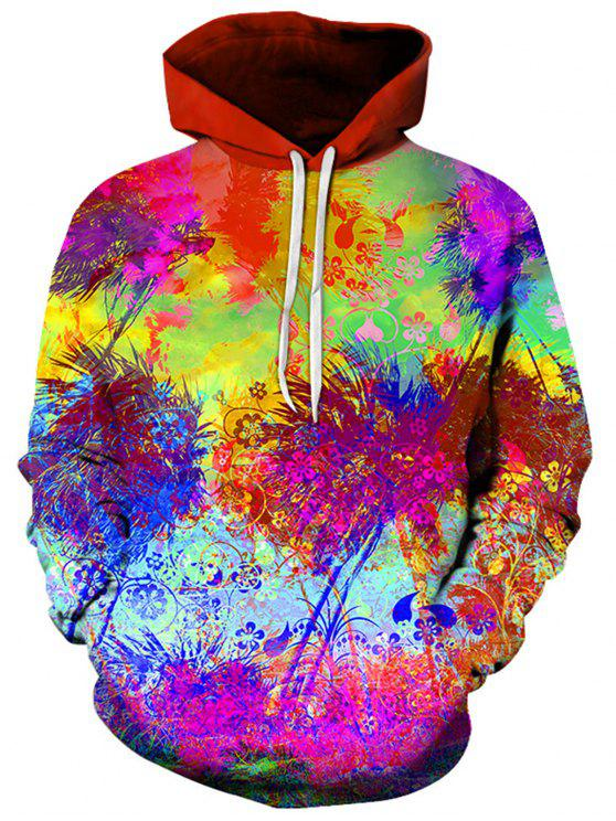 ac35d8701a5 2019 3D Tie Dye Florals Print Pullover Hoodie In COLORMIX 3XL