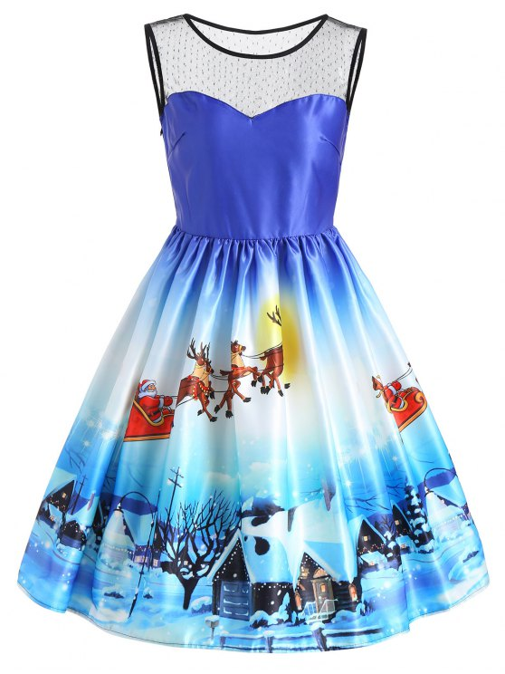 fancy Christmas Sleeveless Snow View Print Vintage Dress - BLUE M