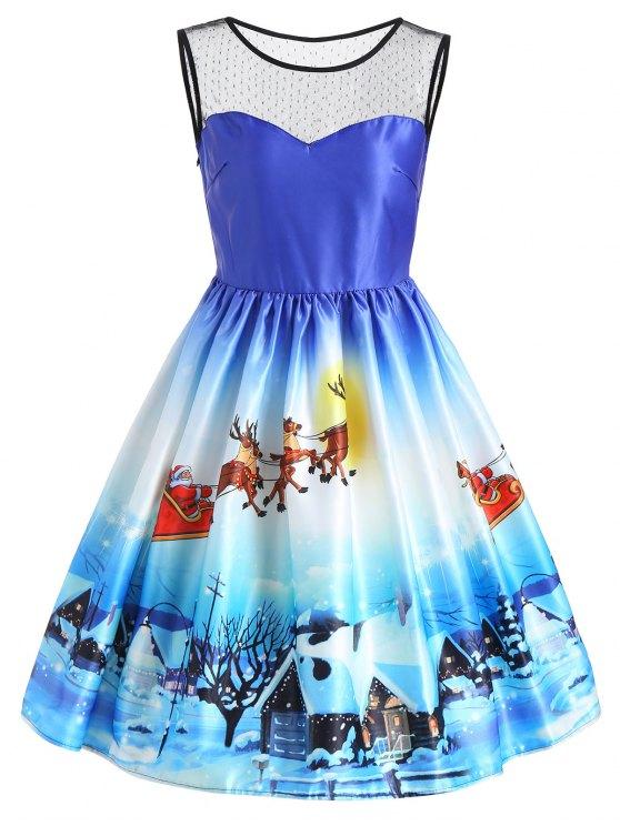 Vestido sin mangas con estampado de nieve de vista de nieve de Navidad - Azul 2XL