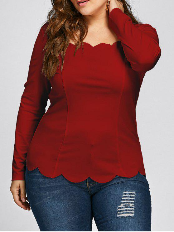 c1f3c5268b7333 23% OFF] 2019 Plus Size Scalloped Square Neck Long Sleeve Top In RED ...