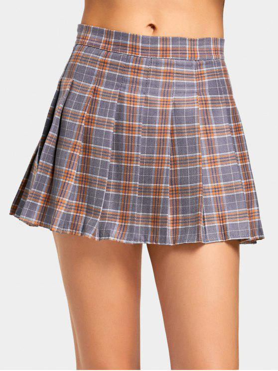 womens High Waist Checked Pleated Skirt - CHECKED M