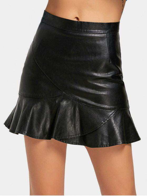 Falda de sirena de cuero de imitación de cintura alta - Negro XL