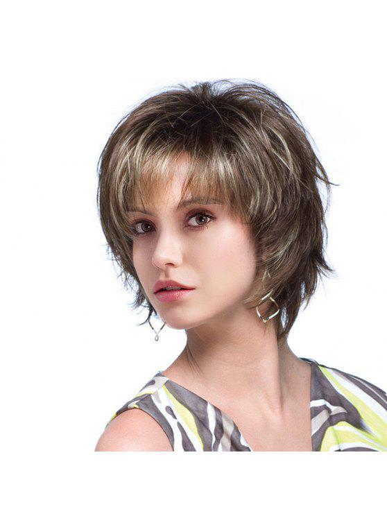 قصيرة الجانب الانفجار أشعث كولورميكس الطبيعي مستقيم شعر مستعار الإنسان - Colormix