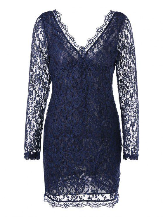fafa5eafcf Plunging Neck Sheer Long Sleeve Lace Dress PURPLISH BLUE  Lace ...