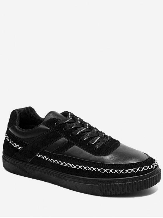 Stitching Criss Cross Color Block Skate Shoes - Preto 41