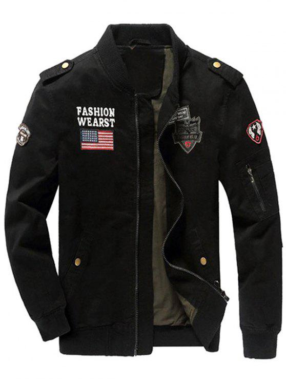 women's Zip Up Epaulet Design Patched Jacket - BLACK L