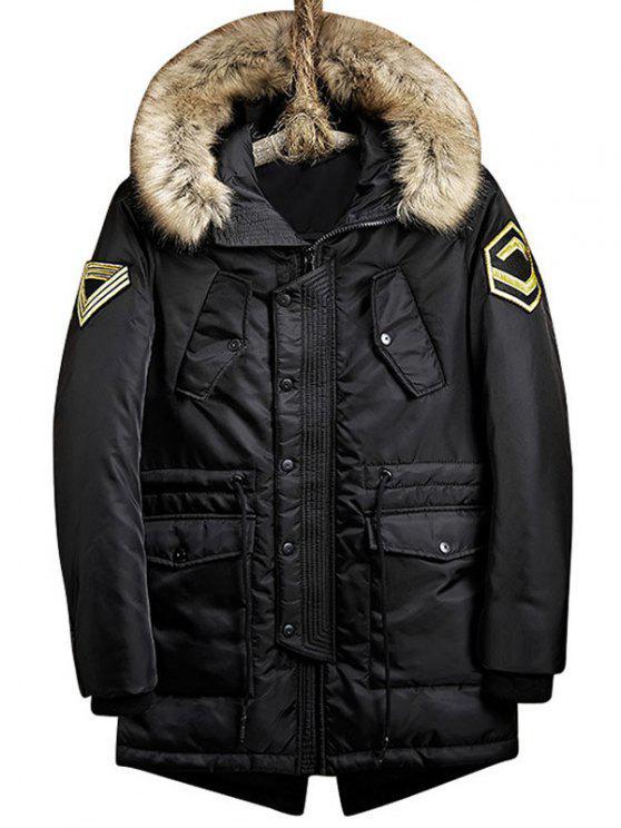 hot Flap Pockets Patch Design Hooded Parka Coat - BLACK 3XL