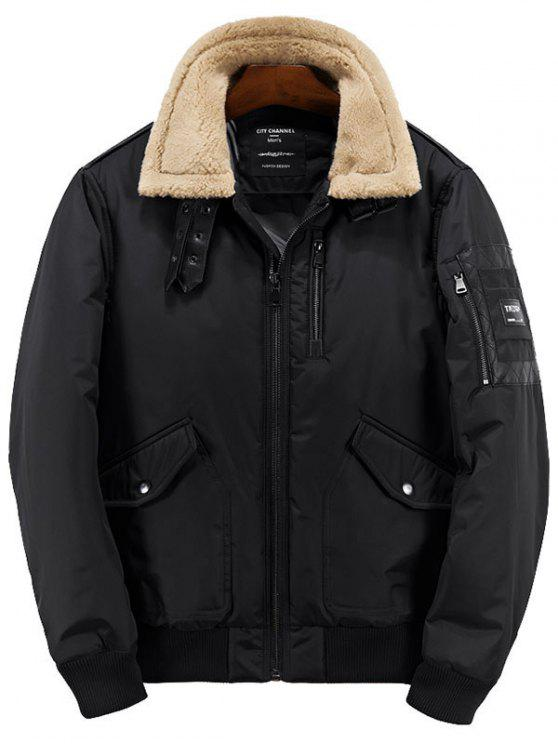 outfit Borg Collar Zip Up Casual Jacket - BLACK L