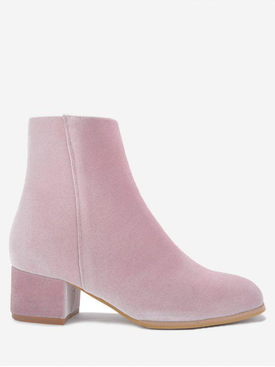 Stacked Heel Almond Toe Velour Ankle Boots