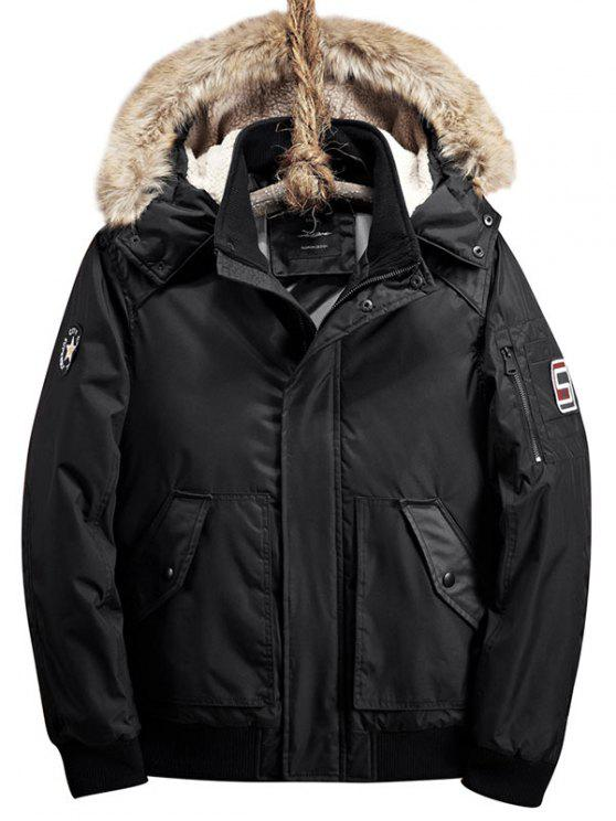 womens Patch Design Zip Up Detachable Hood Jacket - BLACK 2XL