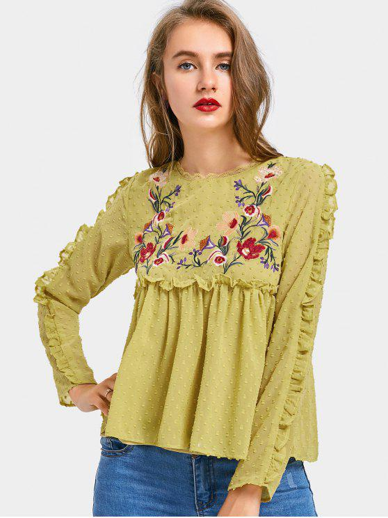 lady Applique Ruffles Floral Embroidered Blouse - BLUISH YELLOW L