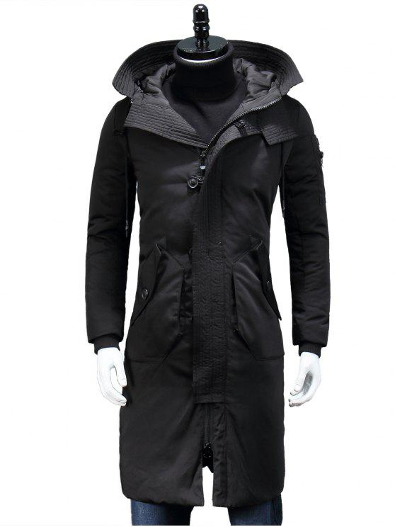 outfits Hooded Zip Pocket Longline Padded Coat - BLACK M