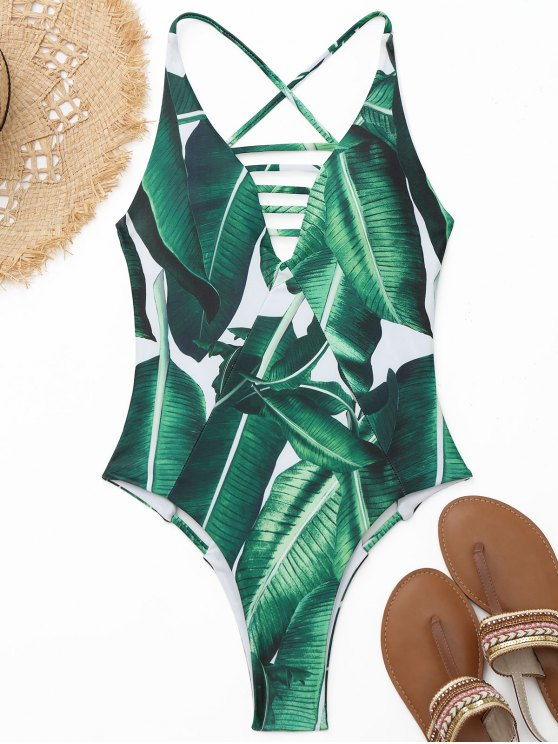 Maillot de Bain Imprimé Feuille de Palmier Découpé à Coupe Haute - Blanc et  vert S