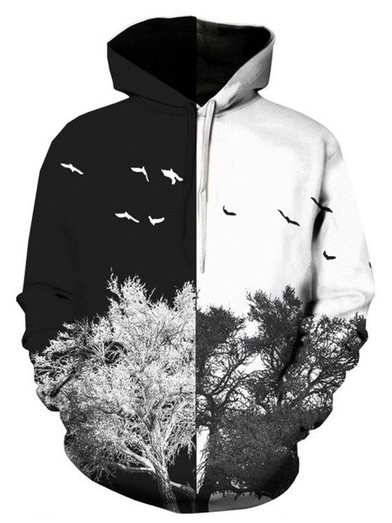 women's Hooded 3D Color Block Tree Print Pullover Hoodie - COLORMIX M