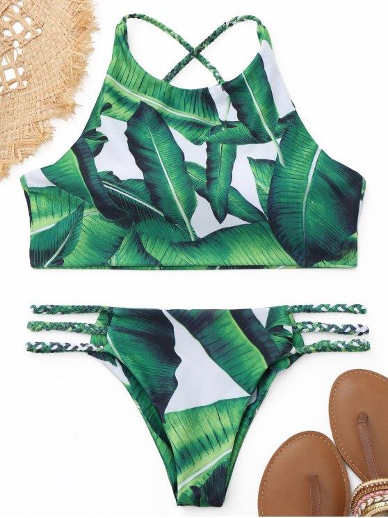 Bikini A Scollo Alto Stampa Foglia Di Palma Con Lacci Intrecciati - verde S