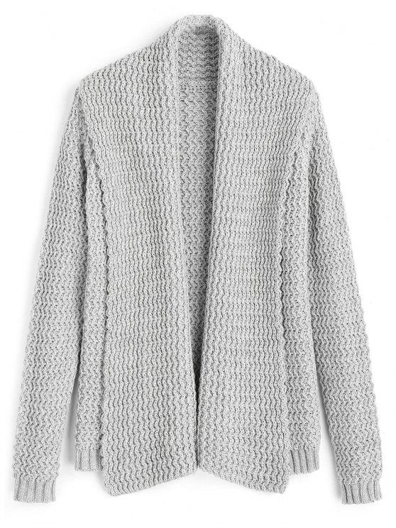 buy Zig Zag Shawl Collar Open Front Cardigan - GRAY ONE SIZE