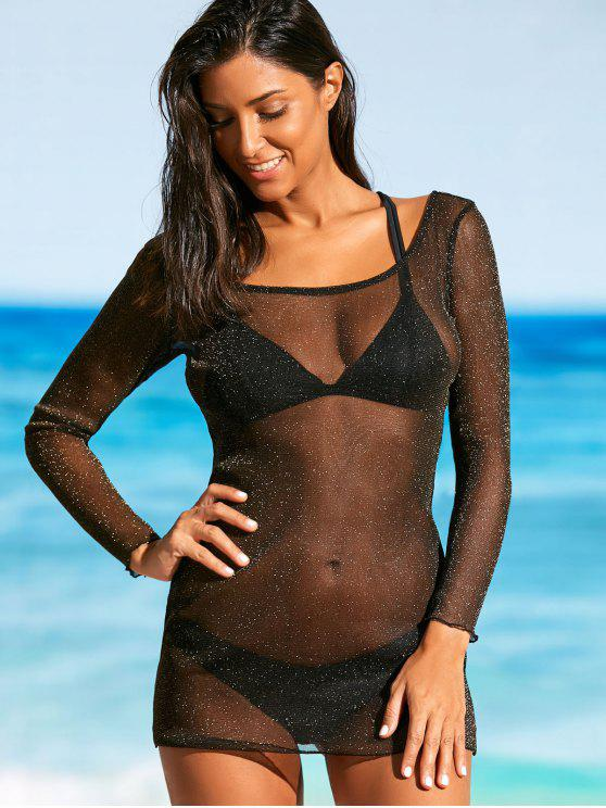 Mesh See Through Cover Up Top - Noir M