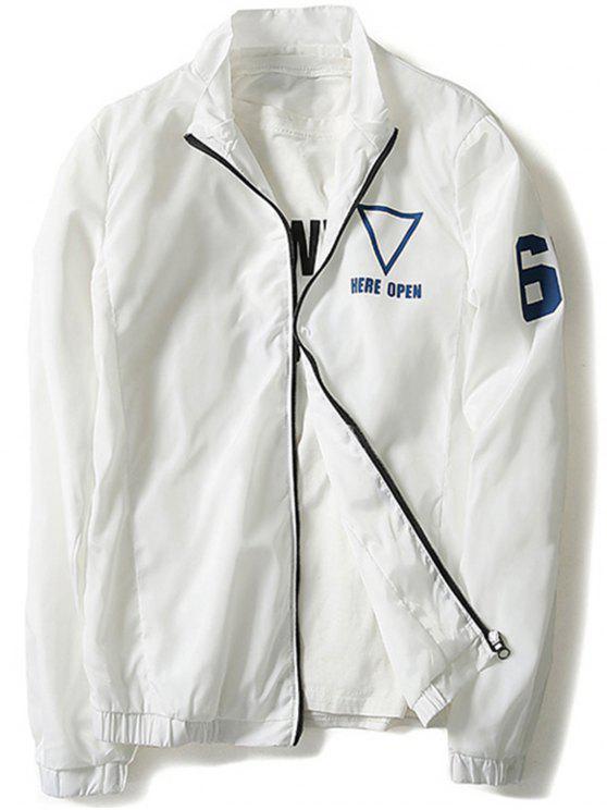 online Geometric Print Windbreaker Jacket Men Clothes - WHITE XL