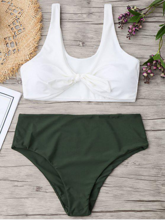 Zweifarbiger Plus Größe Riemchen Bikini - Armeegrün 2XL