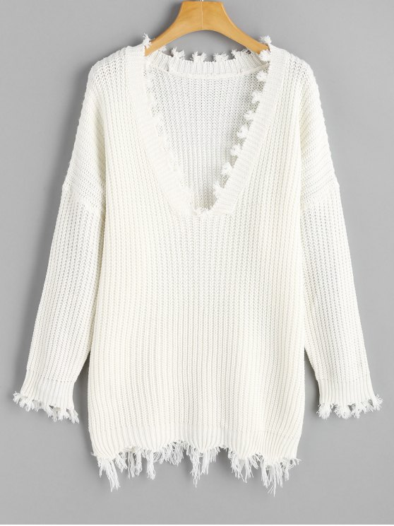 ladies Frayed Oversized V Neck Sweater - WHITE ONE SIZE