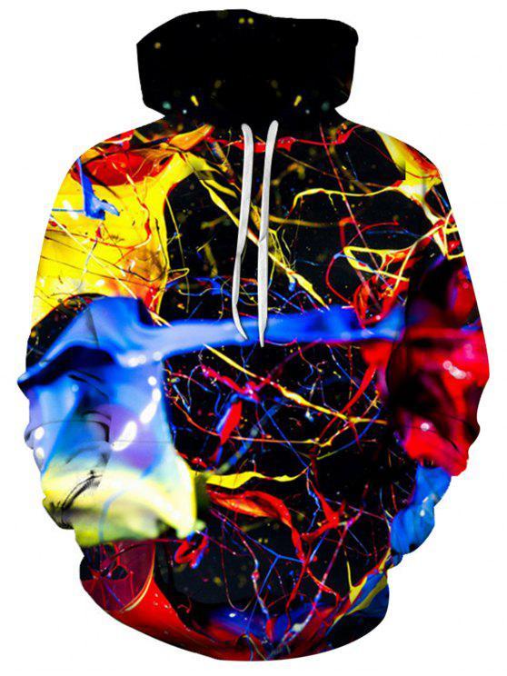 Felpa Con Cappuccio Pullover Con Stampa 3D Floreale A Pittura A Spruzzo Colorata - colori misti 2XL