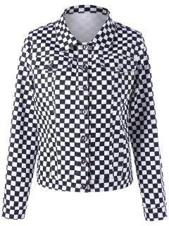 Checkered Flap Pockets Shirt Jacket - Black White M