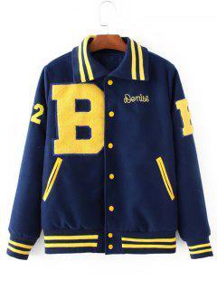 Fleece Applique Jacket - Deep Blue S