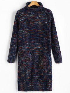 Rollkragen Longline Chunky Sweater Mit Taschen - Dunkelblau