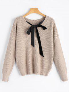 Drop Shoulder Back Self Tie Bowknot Sweater - Light Khaki