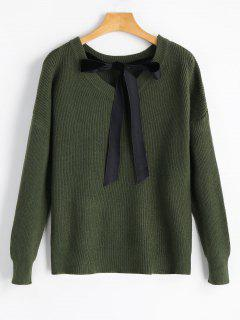 Drop Shoulder Back Self Tie Bowknot Sweater - Army Green