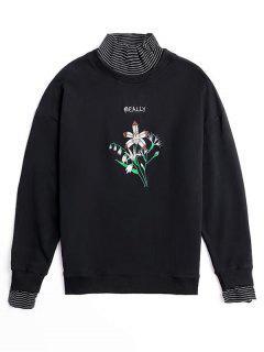 High Neck Besticktes Sweatshirt - Schwarz