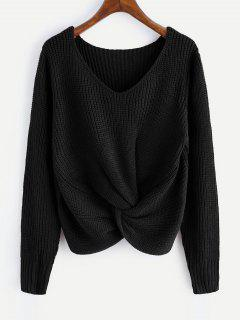 V Neck Twist Chunky Sweater - Black