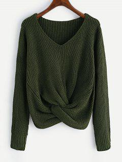 V Neck Twist Chunky Sweater - Army Green