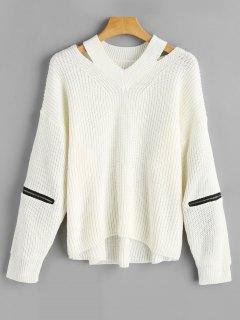 Suéter De Corte Extragrande De Manga Larga Con Cremallera - Blanco