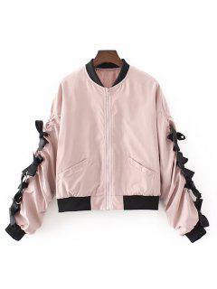 Ribbon Scrunch Bomber Jacket - Pink M