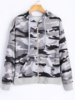 Zipper Up Camo Hoodie - Camouflage L