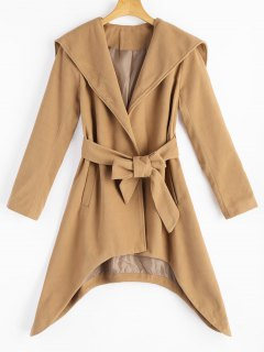Belted Asymmetric Hooded Coat With Pockets - Camel Xl