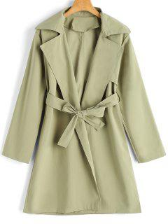Long Sleeve Belted Skirted Trench Coat - Pea Green S