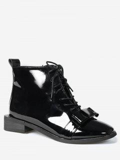 Patent Leather Bow Ankle Boots - Black 39