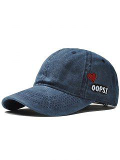 Outdoor Letter And Heart Embroidery Baseball Cap - Blue