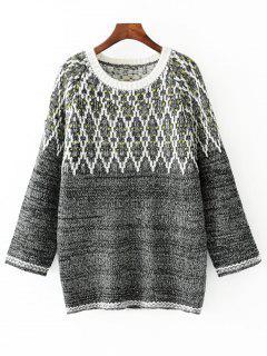 Tunika-Pullover Mit Rundhalsausschnitt Und Farbmischung - Grau