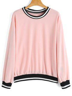 Loose Contrasting Stripes Panel Sweatshirt - Pink L