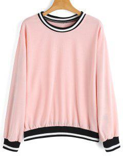 Loose Contrasting Stripes Panel Sweatshirt - Pink S